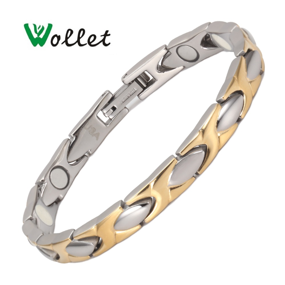 Wollet Jewelry Negative Ion Magnet Women Bio Magnetic Titanium Bracelet For Women Men Gold Plated Health Care Healing Energy