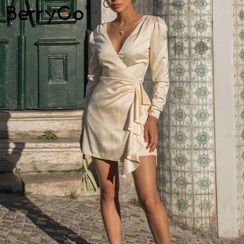 BerryGo Элегантное Атласное зимнее платье с v-образным вырезом женское с буфами, рукав, вечерние платья, женское асимметричное платье с оборками, чистое мини-платье, женское 2019
