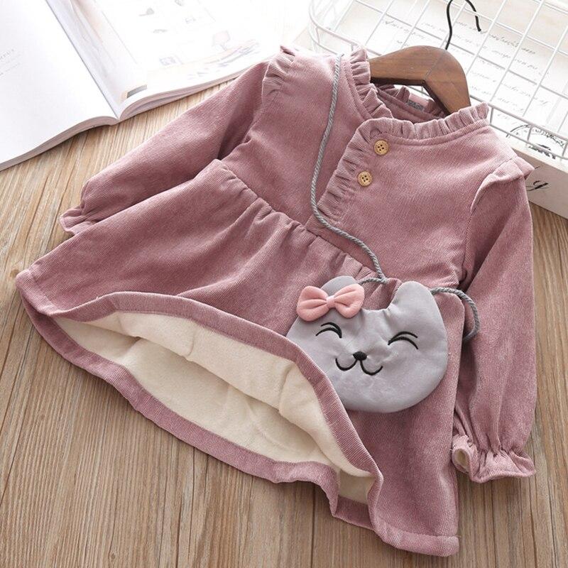 Robe automne hiver pour bébés filles, robe à manches longues, à bord avec velours, couleur unie, vêtements pour enfants, nouvelle collection 2019