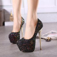 34 45 Size Sexy Platform Pumps Women Ultra Stiletto High Heels 16CM Shoes Round Toe Glitters Sequins Party Wedding Shoes MD 93