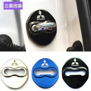 Estilo do carro Fechadura Da Porta de Carro Covers Caso stikcer para Mitsubishi Lancer Asx Outlander Pajero Ralliart Auto-Car Styling 4 pçs/lote