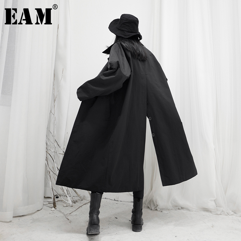[EAM] Women Back Button Vent Big Size Long Trench New Lapel Long Sleeve Loose Fit Windbreaker Fashion Tide Spring 2020 1S251