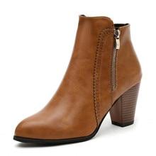 LZJ 2019 Winter Fashion Retro Women Boots Vintage Block Heel