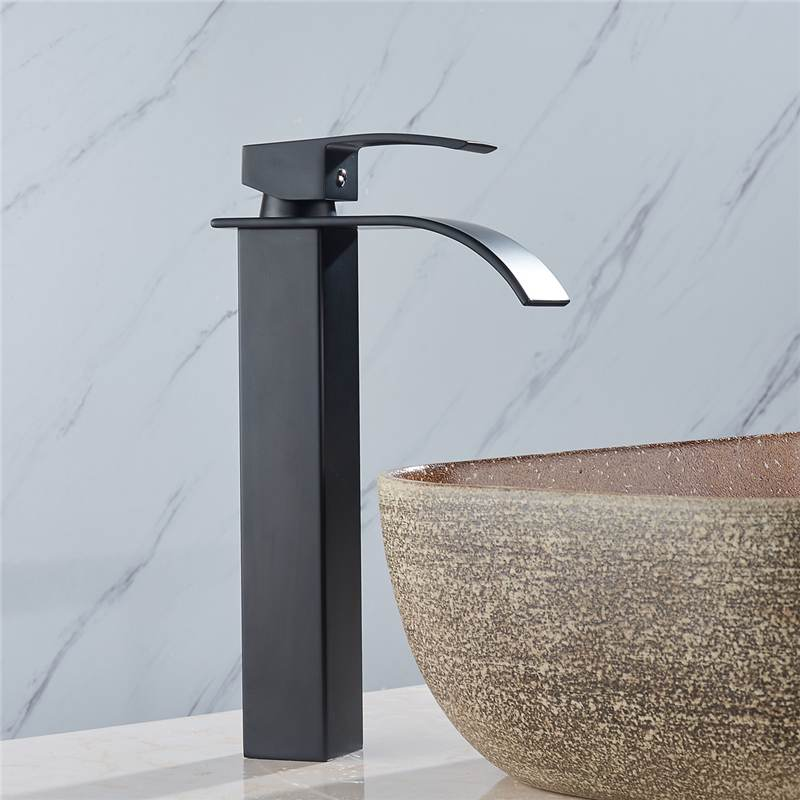 Black Tall Style 1/2 Inch Brass Modern Bathroom Basin Faucet Bathroom Spout Faucet Hot & Cold Water Mixer Tap Single Handle