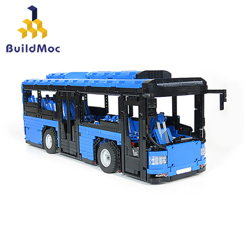 Buildmoc MOC-5161 Creator Brt Double Deck Bus Building Blocks Technic City Blue Bus School Car Bricks Enlightenment Toys for Kid 1