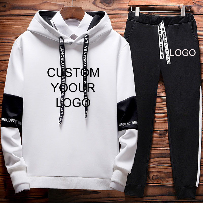 Sets Tracksuit Men Autumn Winter Hooded Sweatshirt Drawstring Outfit Sportswear Fashion Printed Sweatsuit  Two Piece Set