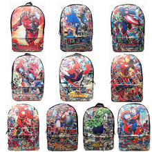 Cartoon De Avengers Deadpool Super Hero Pu Rugzak Student Boek Pack Bag Knapzak(China)