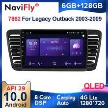 QLED – autoradio Android 10, 6 go/128 go, 4G LTE, Navigation GPS, lecteur multimédia vidéo, Carplay, pour voiture Subaru Outback 3, Legacy 4 (2004 – 2009)