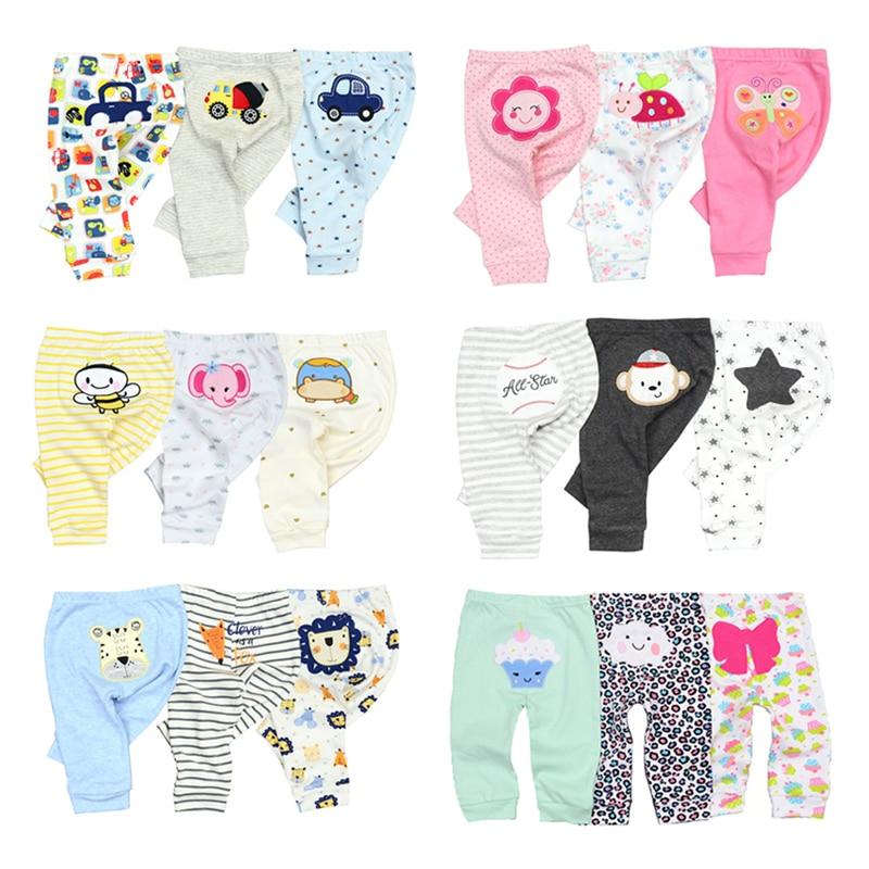 3/4PCS/LOT  Newborn Pants Cartoon four seasons Baby 100%Cotton Soft Girl Pants Baby Boy trousers Pants 0-24M 2