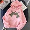 Kawaii Dinosaur Graphic Hoodies Women Funny Winter Warm Cartoon Frog Streetwear Ladies Ullovers Tops Anime Sweatshirts Female 5