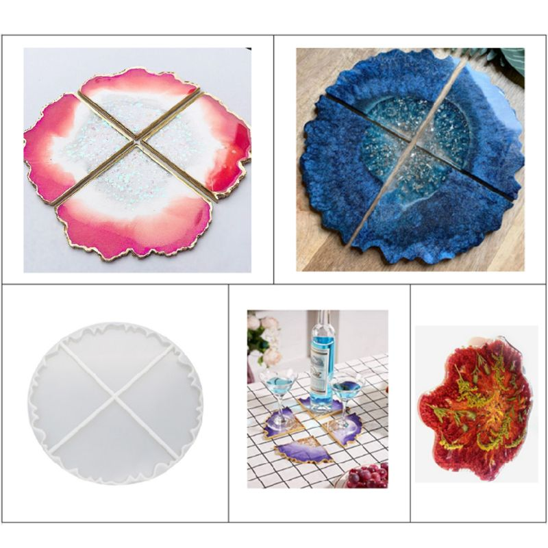 DIY Wave Coaster Crystal Epoxy Mold Manual Mirror UV Resin Rectangle Table Decoration Silicone Mould Crafts Making Molds