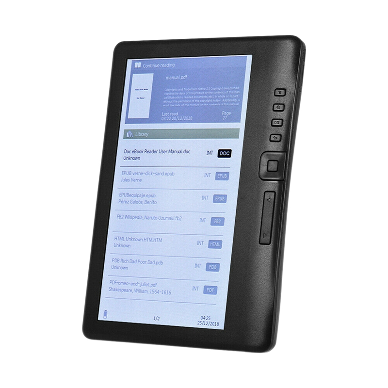 LCD 7 Inch Ebook Reader Color Screen Smart with HD Resolution Digital E-Book Video MP3 Music Player(8GB)