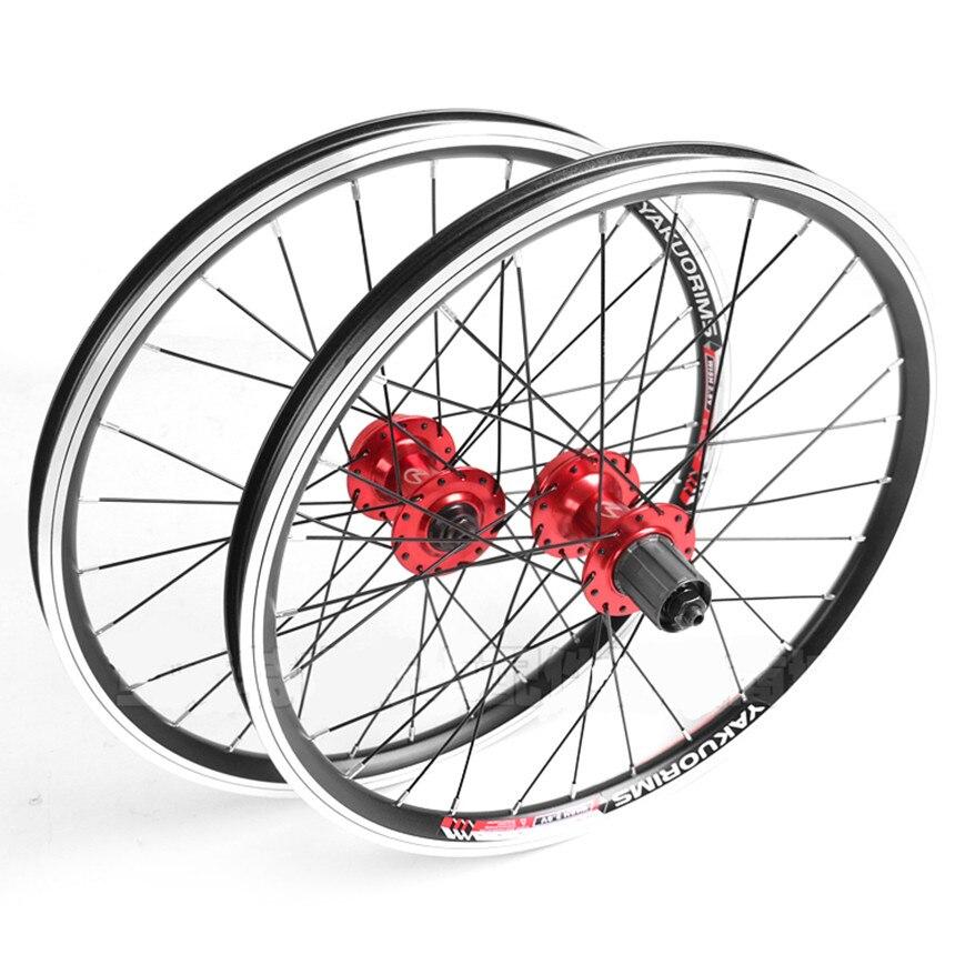 Roues de Cassette de vélo pliantes 20 pouces 406 V frein/freins à disque Double jante en alliage d'aluminium 28 trous roues de roulement scellées
