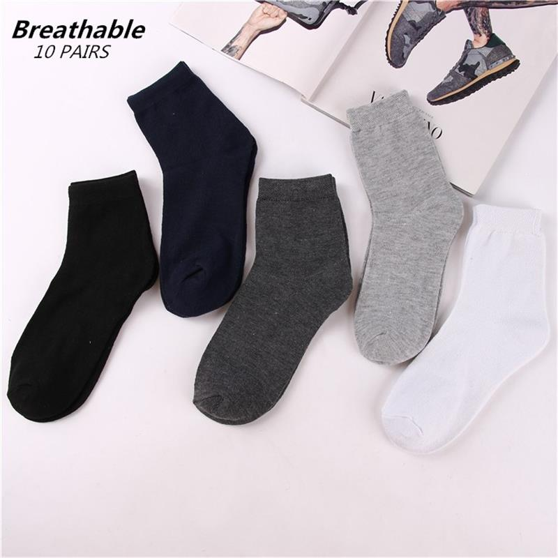 10 Pairs/lot Men's White Tube Socks Sports Casual Business Black Gray Socks Men's Foot Bath Gift Socks Low Price Wholesale