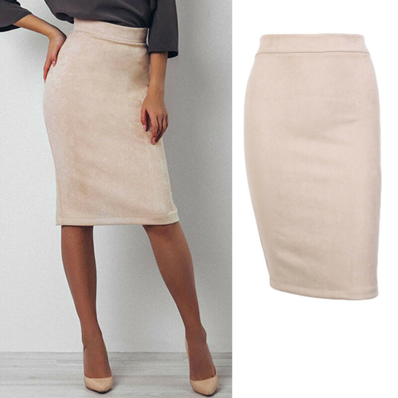 New Fashion Sexy Women High Waist Skirts Solid Beige Split Suede Skinny Bodycon Pencil Stretch Midi Skirt Formal Office Lady