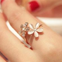Опал двойной цветок ромашки Открытое кольцо красивый горный хрусталь Регулируемый для женщин Свадебные Ювелирные украшения в подарок