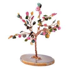 Árbol de cristal Natural amatista, cuarzo rosa aguamarina, decoración de árbol de la suerte, Ágata en rodajas, adornos de piedra Mineral, decoración de oficina