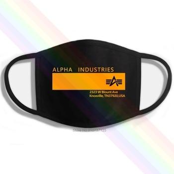 Alpha Industries logotipo EE. UU. Impresión negra clásica lavable transpirable reutilizable mascarilla...