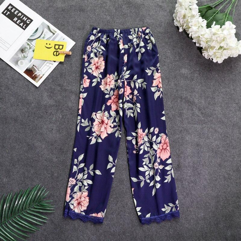 Осенние женские атласные пижамные штаны Свободные повседневные пижамы одежда для сна штаны для отдыха домашняя одежда - Цвет: navy blue A