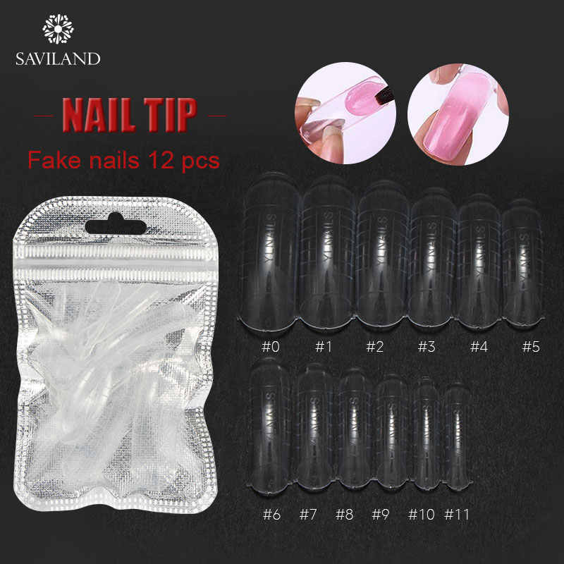 SAVILAND Mixed False Poly Gel Nail Tips White Clear Color Mold Form Finger Extension Clip for Quick Manicure Nail Art Tips