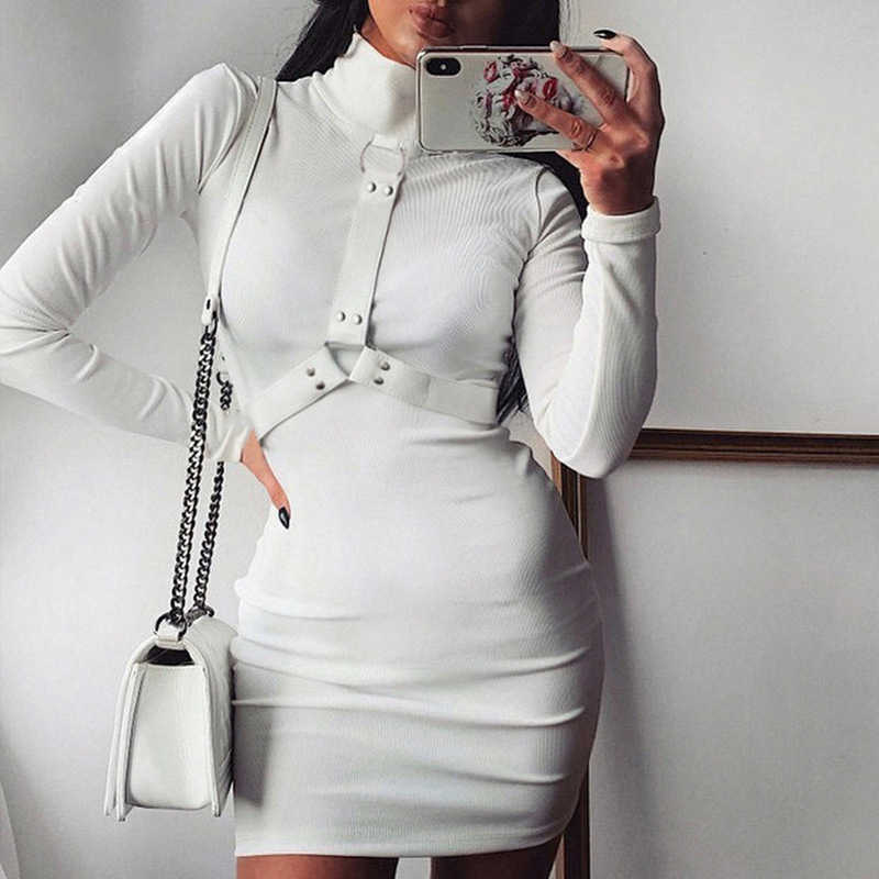 الأبيض الياقة المدورة Bodycon فستان مع حزام عادية كم طويل فستان قصير المرأة الأساسية أنيقة السيدات فساتين الخريف 2020