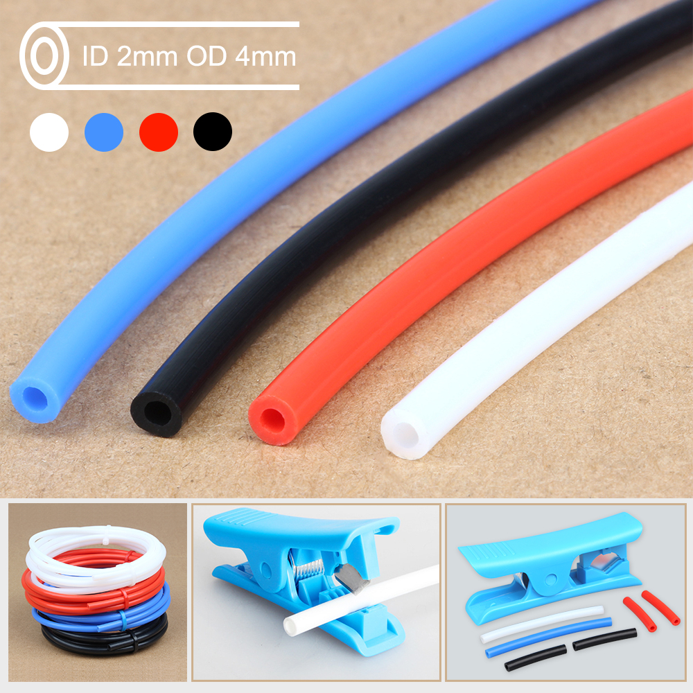 Free Shipping 3DSWAY 3D Printer Parts PTFE Tube Teflon Pipe Bowden Extruder 1.75mm ID2mm OD4mm 1M 2M With Cutter And Cable Tie