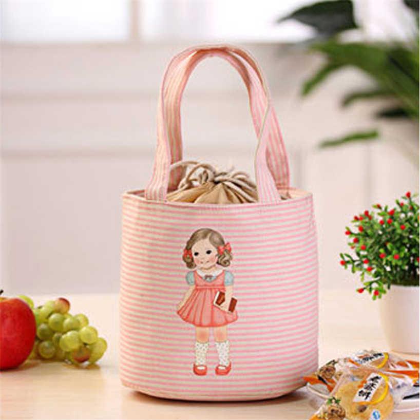 Kleines Mädchen Leinwand Praktische Tragbare Isolierung Box Einfache Tote Tasche Nette Isolierung Tasche Liebe Mittagessen Tasche Mittagessen Lagerung Box