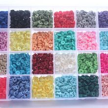 4800Pcs 24 Colors 6mm Flat Round Polymer Clay Disc Loose Spacer Bead DIY Jewelry 23GE
