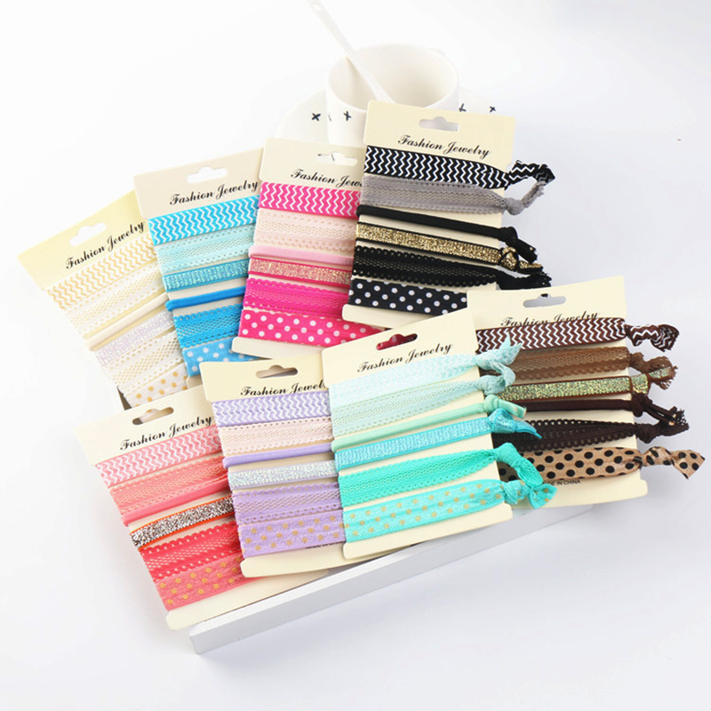 6pcs/lot Knot Ponytail Holder Hairband Bracelets Rubber Band Elastic Mixed Hair Ties Women Girls' Hair Accessories