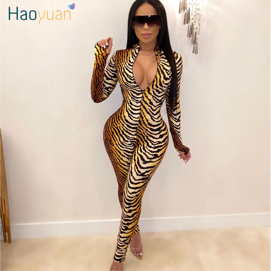 HAOYUAN Sexy One Piece Tiger Print Bodycon Jumpsuit Club Outfits Fall Festival Long Sleeve Zip Up Tight Rompers Womens Jumpsuit