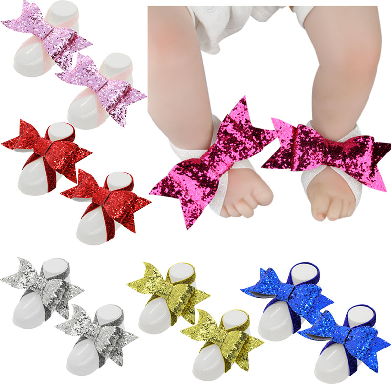 Cute Baby Toddler Shoes Baby  Girls Barefoots Sandals Elastic Force Big Bow Foot Flower Feet Accessories C I