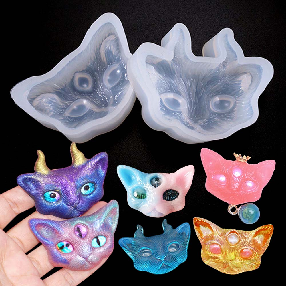 1PC Cat With Horn Or Eye Silicone Mold Necklace Pendant Epoxy Resin For Jewelry Making Mould DIY Hand Craft Resin Molds For Jewe