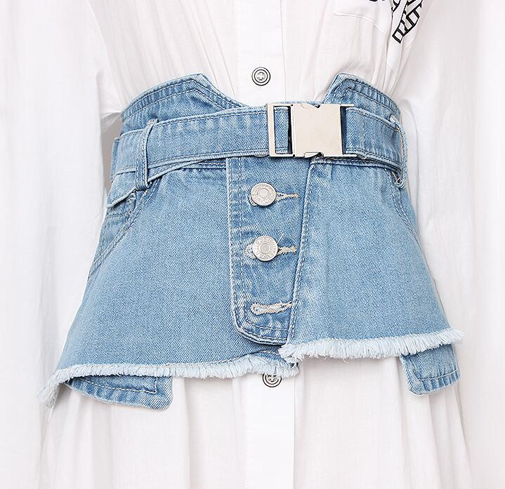 Women's Runway Fashion Denim Cummerbunds Female Dress Corsets Waistband Belts Decoration Wide Belt R1920