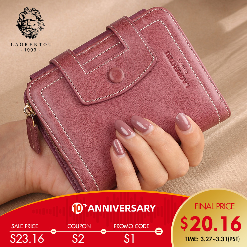 LAORENTOU Brand Natural Leather Female Small Money Bag Mini Vintage Wallets Lady Zipper & Hasp Purse Women's Coin Pocket