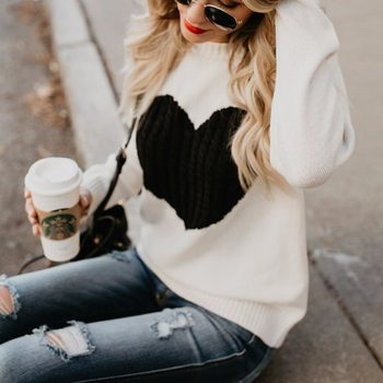 Casual Autumn Winter Pullover Long Sleeve O Neck Heart Knitted Women Sweaters Slim Pull Femme Jumpers 3XL Size Loose Sweater 8
