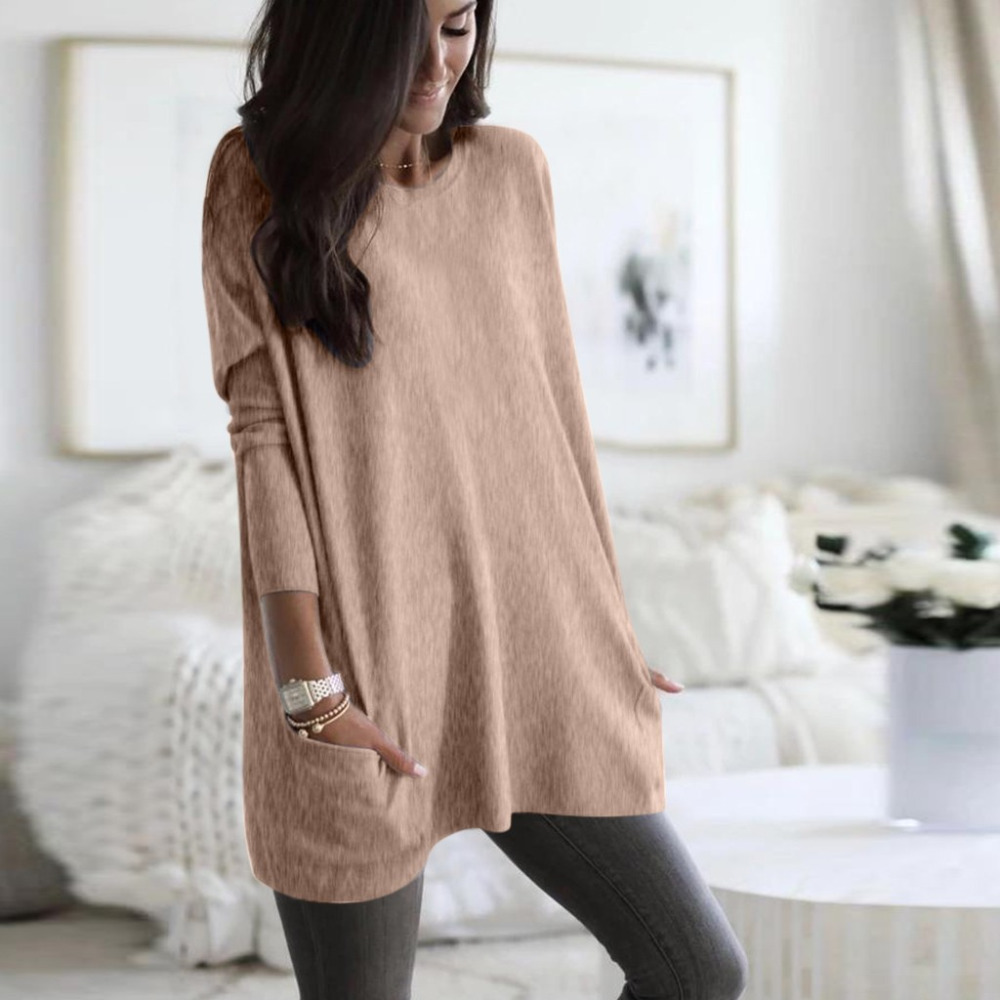 Womens Solid Warm Long Sleeve Sweatshirt Loose Pocket Daily Pullover Tops #4O08 (34)