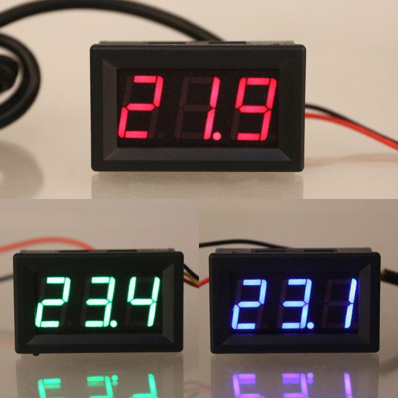 "0.56"" DS18B20 Digital Thermometer Waterproof Temperature Sensor Probe DC 12V 24V A5YD"