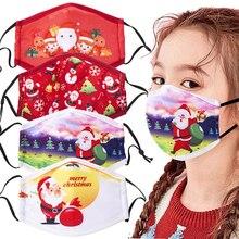 Face-Cover Mask Mascarilla Adult Breathable Kids Cotton 4pieces/Set Multi-Purpose Christmas-Print