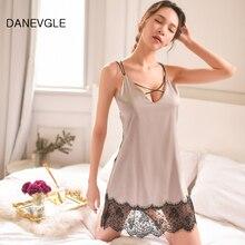 Danvegle woman sexy halter V-neck silk lace strap nightdress high quality sleepwear ladies nightgown