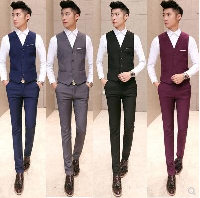 Men Waistcoat Suit Pants Shirt Three-piece Set Groom Best Man Wedding Dress Suit Pants Shirt KTV Work Vest Suit