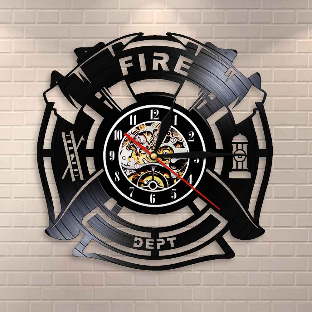 Fire & Rescue Fire Dept Sign Decoration Wall Clock Firefighter Vinyl Record Wall Clock Man Cave Firemen Decorative Clock Watch