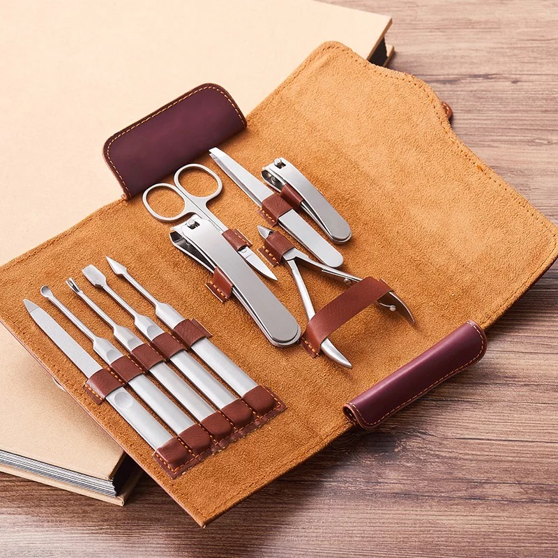 All Stainless Steel Nail Clipper Set Beauty Art Manicure Tools Pedicure Kit High Quality PU Leather