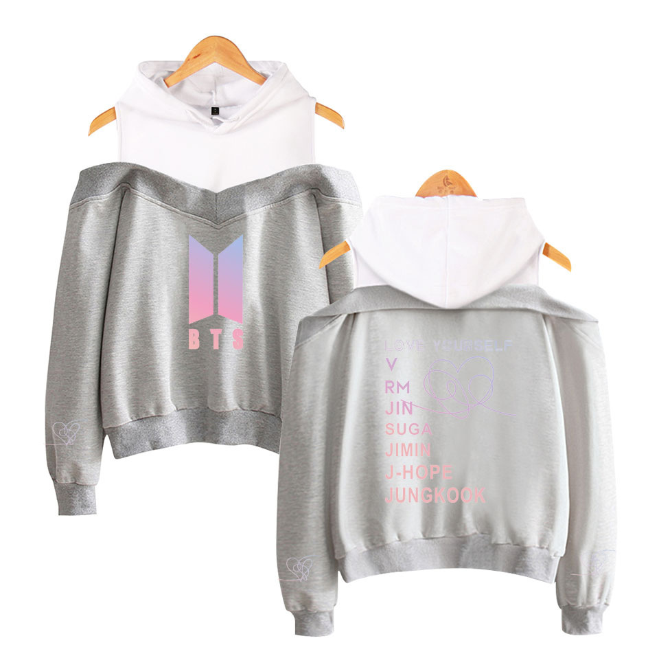 Hot Sales BTS Bulletproof Boys New Album Spring And Autumn New Style Fashion Off-Shoulder Hooded Sweater