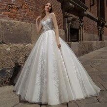 Traugelスクープaラインのレースのウェディングドレス繊細なアップリケタンクスリーブバックレス花嫁ドレス掃引列車の花嫁衣装プラスサイズ