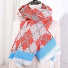 Бесплатная доставка осень зима женский шерстяной клетчатый шарф