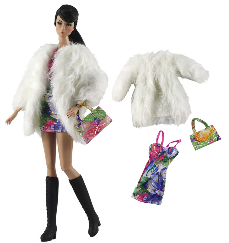 NK 1Set  2020 Doll Dress Handmade Clothes Fashion Coat+Vest+Bag  For Barbie Doll Accessories Child Toys Girls' Gift 334C 01X