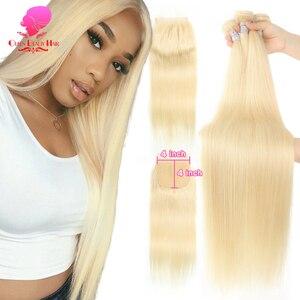 613 медовые светлые человеческие волосы, прямые бразильские волосы, пряди с закрытием 4x4613 светлые волосы 3 4 пряди и закрытие