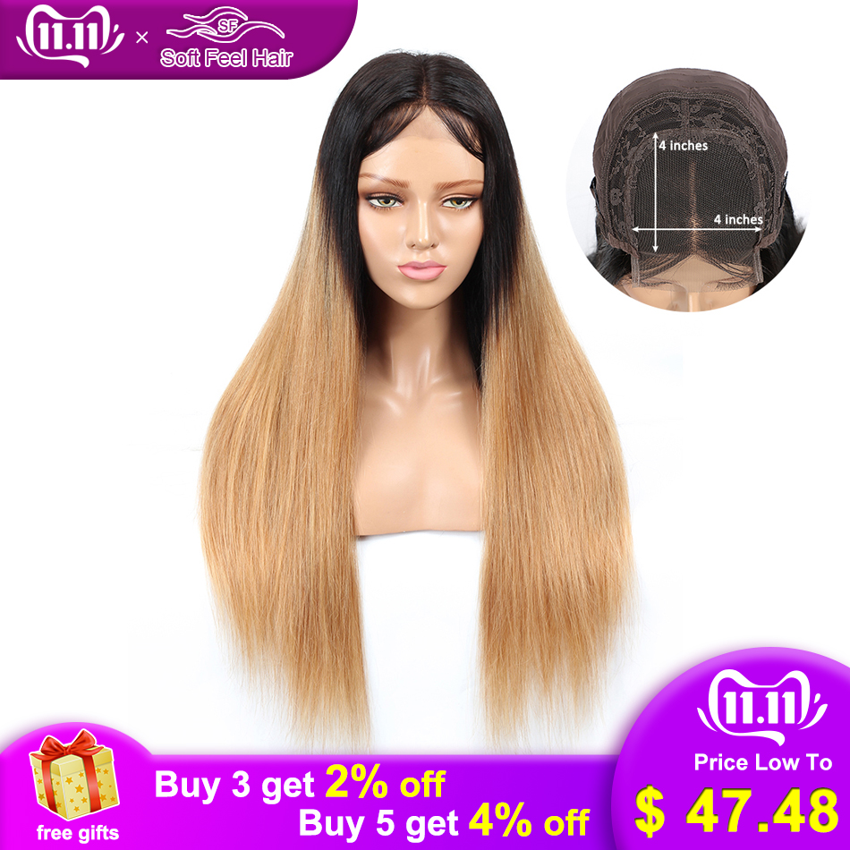 Soft Feel Hair 4*4 Ombre Blonde Lace Closure Wig Human Hair Closure Wigs With Baby Hair Remy Straight Brazilian Wig Middle Ratio
