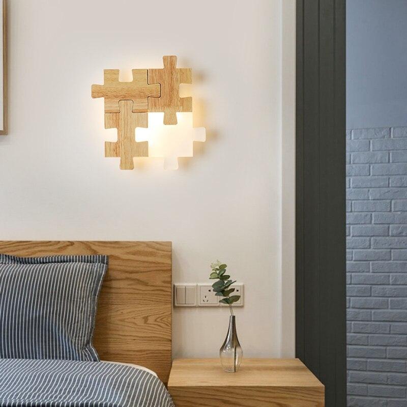 Скандинавские прикроватные проходы светодиодный настенный светильник сочетание головоломки личности творческой твердой древесины спаль... - 4