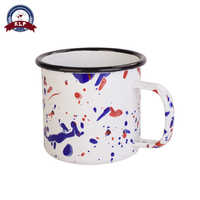 Printing Custom Cheap Metal Enamel Camping Coffee Mug with Handle